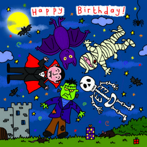 Children's Birthday Card Spinner - Spooky Monsters
